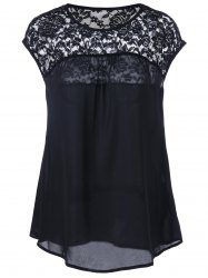 Lace Insert Cap Sleeve Blouse - BLACK