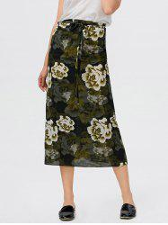 Floral Print Self Tie High Waisted Skirt - GREEN
