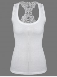 Sheer Lace Insert Racerback Tank Top