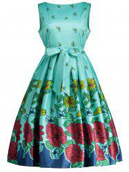 Bee Printed Sleeveless Belted Dress
