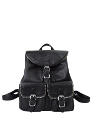 Zipper Front Pockets Buckles Backpack - BLACK