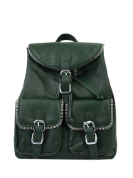 Zipper Front Pockets Buckles Backpack - BLACKISH GREEN