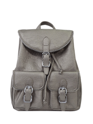Zipper Front Pockets Buckles Backpack - SILVER GRAY