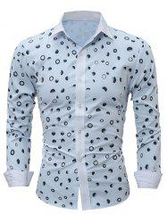 Ombre Polka Dot Print Long Sleeve Shirt
