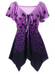 Empire Waist Butterfly Asymmetric Tee - PURPLE 2XL