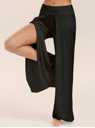 High Slit Palazzo Pants - BLACK