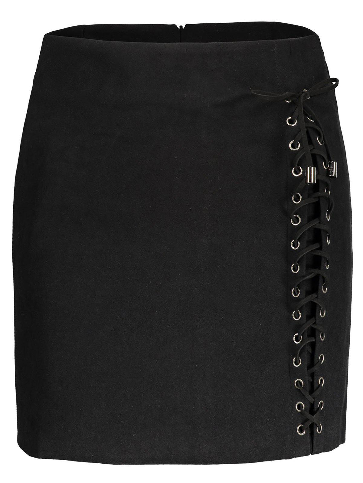 Sale Faux Suede Lace Up Skirt