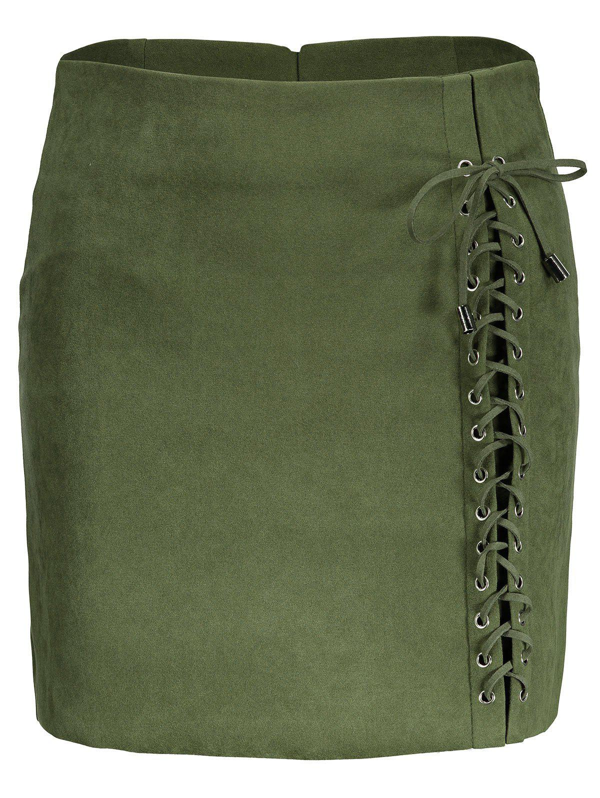 Hot Faux Suede Lace Up Skirt