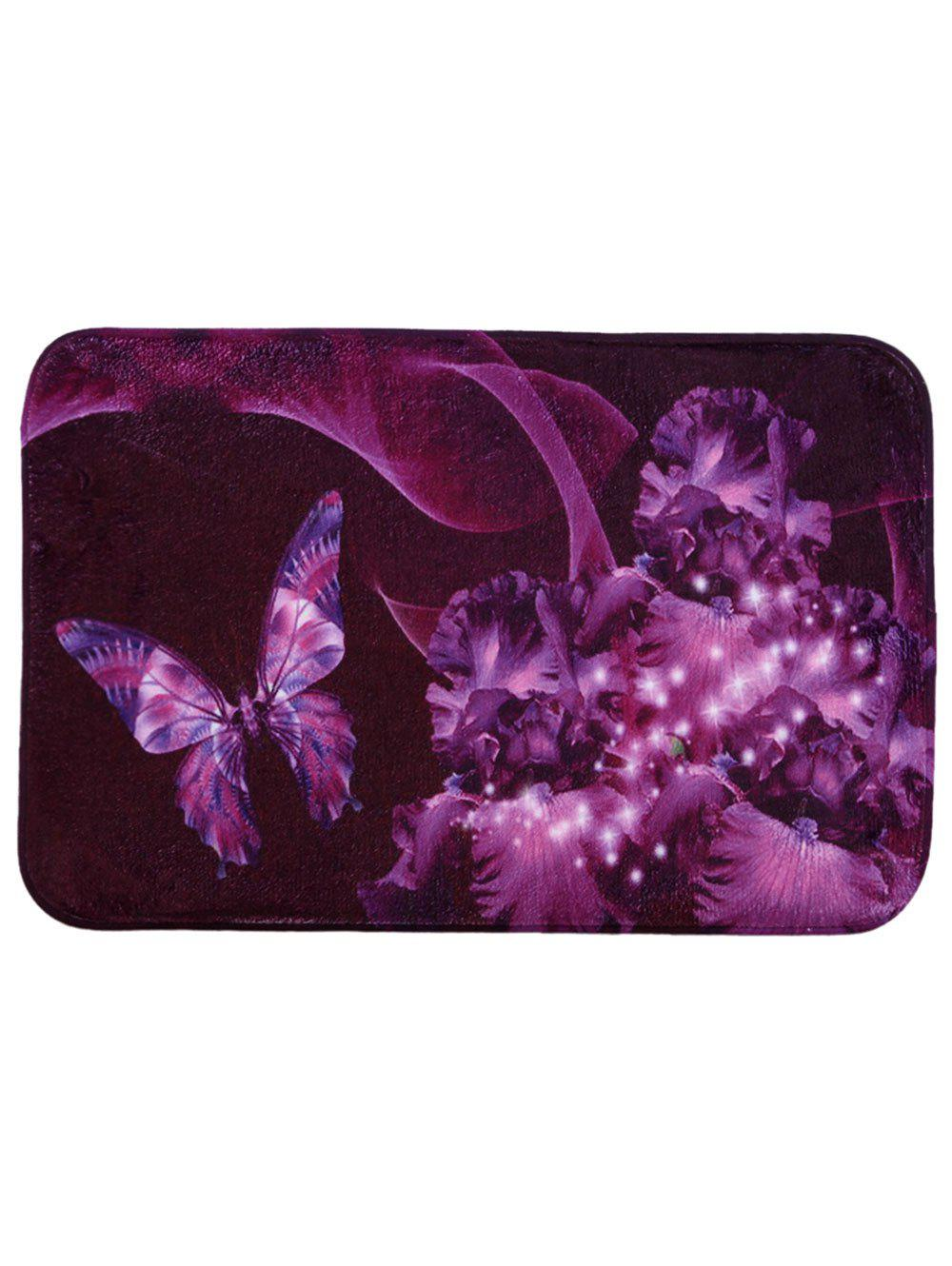 Soft Absorbent Mew Butterfly Area RugHOME<br><br>Size: 40*60CM; Color: VIOLET; Products Type: Bath rugs; Materials: Coral FLeece; Pattern: Animal; Style: Fashion; Shape: Rectangular; Weight: 0.4800kg; Package Contents: 1 x Rug;