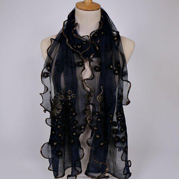 Fine Gauze Peacock Floral Embroidery Chiffon ScarfACCESSORIES<br><br>Color: CADETBLUE; Scarf Type: Scarf; Group: Adult; Gender: For Women; Style: Fashion; Material: Polyester; Pattern Type: Animal,Floral; Season: Spring,Summer; Scarf Length: 190CM; Scarf Width (CM): 40CM; Weight: 0.0700kg; Package Contents: 1 x Scarf;