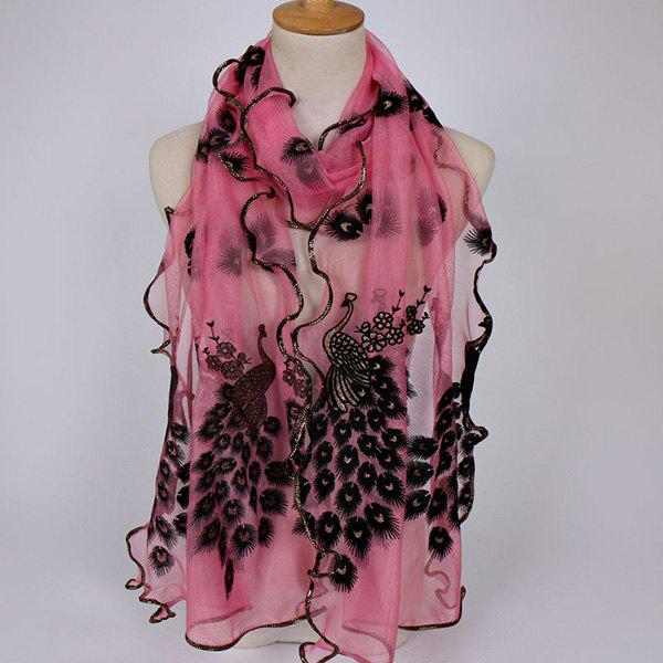 Fine Gauze Peacock Floral Embroidery Chiffon ScarfACCESSORIES<br><br>Color: PINK; Scarf Type: Scarf; Group: Adult; Gender: For Women; Style: Fashion; Material: Polyester; Pattern Type: Animal,Floral; Season: Spring,Summer; Scarf Length: 190CM; Scarf Width (CM): 40CM; Weight: 0.0700kg; Package Contents: 1 x Scarf;
