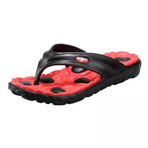 Color Block Massage Cobblestone Flip Flops - Red With Black - 44