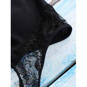 Lace Panel Backless One Piece Swimsuit - BLACK L