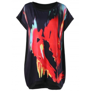 Plus Size Tie Dye Longline T-Shirt - Black - 4xl