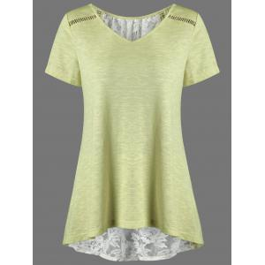 V Neck Floral High Low Hem Lace Back T-Shirt - Yellow - 2xl