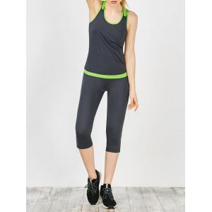 Cutout Tank Top and Capri Sports Leggings - Black Grey - M