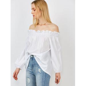 Long Sleeves Off The Shoulder Blouse - WHITE M