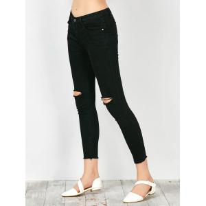 Distressed Frayed Hem Jeans - BLACK XL