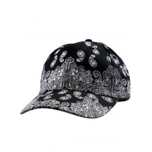 Floral Printed Baseball Cap - BLACK ONE SIZE