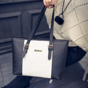 Trendy Colour Block and PU Leather Design Shoulder Bag For Women - WHITE/BLACK