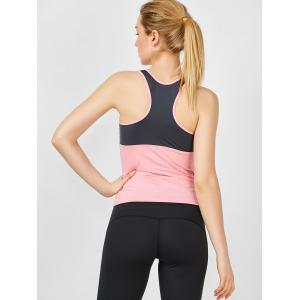 U Neck Two Tone Running Tank Top - PINK S