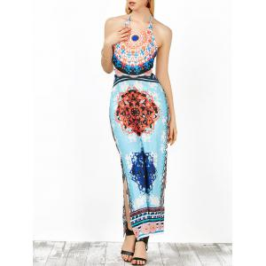 Backless Halter Neck Tribal Print Boho Long Dress