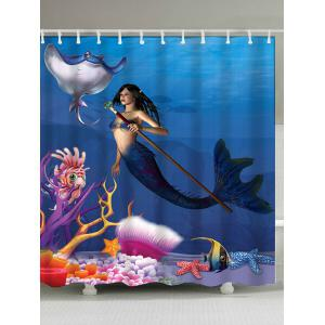 Sea Mermaid Shower Curtain Bath Decoration - Ocean Blue - W71 Inch*l79 Inch