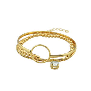 Rhinestone Alloy Beaded Circle Bracelet Set