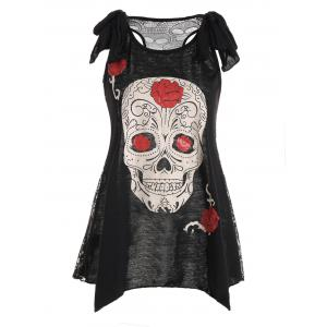 See Thru Skulls Lace Back Tank Top
