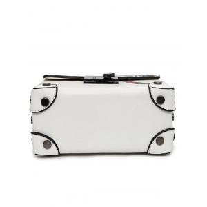 Bird Print Metal Detail Handbag - WHITE