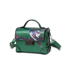 Bird Print Metal Detail Handbag -