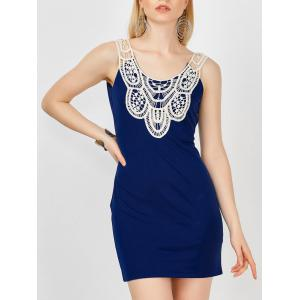 Lace Crochet Panel Bandage Mini Dress - Deep Blue - L