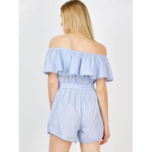 Off The Shoulder Ruffle Stripe Pants Romper - BLUE S
