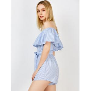 Off The Shoulder Ruffle Stripe Pants Romper -