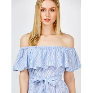 Off The Shoulder Ruffle Stripe Pants Romper - BLUE XL