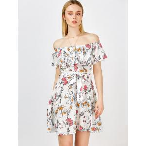 Casual Off the Shoulder Floral Summer Skater Dress - WHITE XL