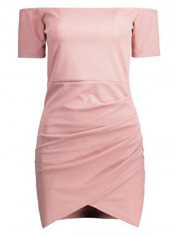Outfit Mini Off The Shoulder Bodycon Bandage Dress PINK L