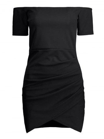 Fashion Mini Off The Shoulder Bodycon Bandage Dress BLACK XL