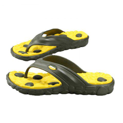 New Color Block Massage Cobblestone Flip Flops - 43 YELLOW AND GREEN Mobile