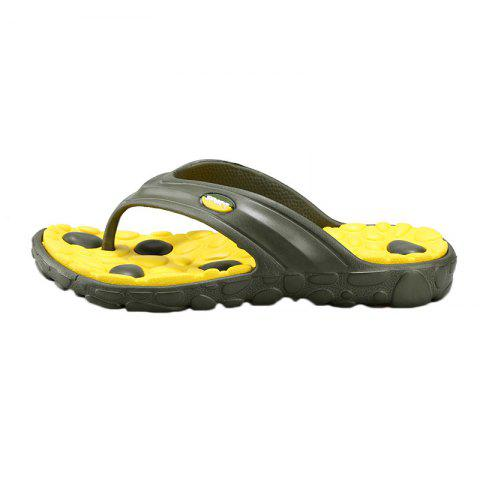 Best Color Block Massage Cobblestone Flip Flops - 43 YELLOW AND GREEN Mobile