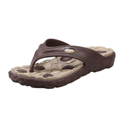 Affordable Color Block Massage Cobblestone Flip Flops - 43 BROWN Mobile