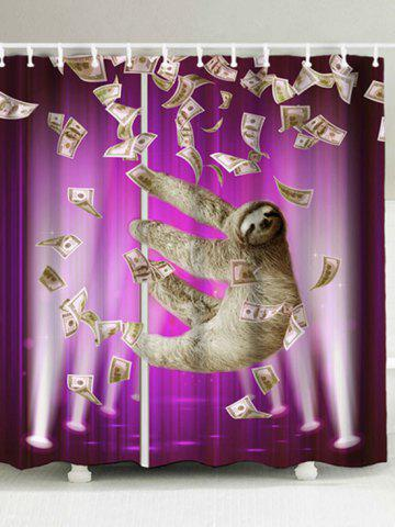 Purple W71 Inch L71 Waterproof Sloth And Dollars Shower Curtain
