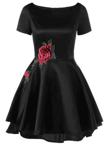 New Appliqued Embellished Swing Fit and Flare Dress