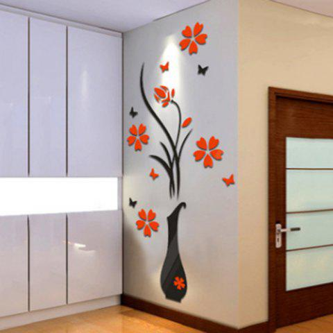Sale Plum Blossom Flower Vase 3D Rilief Wall Sticker - RED  Mobile