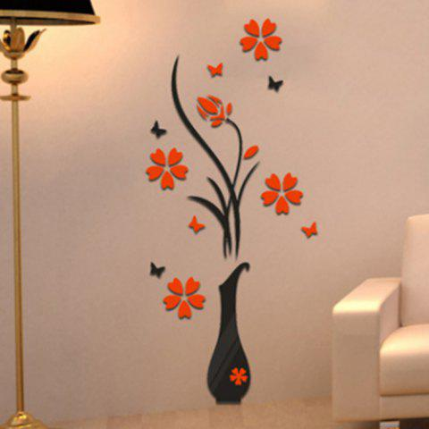 Shop Plum Blossom Flower Vase 3D Rilief Wall Sticker - RED  Mobile