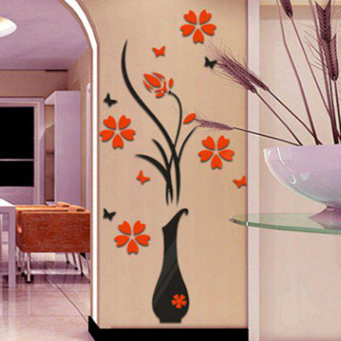Discount Plum Blossom Flower Vase 3D Rilief Wall Sticker - RED  Mobile
