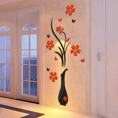Chic Plum Blossom Flower Vase 3D Rilief Wall Sticker - RED  Mobile