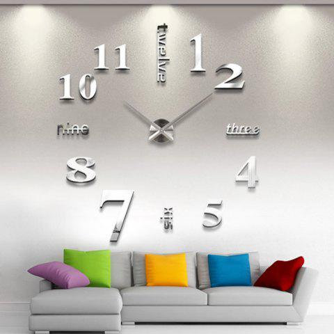 Chic Home Decor DIY Analog Number Wall Clock - SILVER  Mobile
