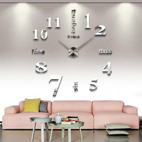 Discount Home Decor DIY Analog Number Wall Clock - SILVER  Mobile