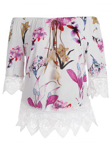 Buy Lace Insert Shoulder Floral Top - Peach Red 2XL
